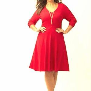 Red V-neck Sweater Dress